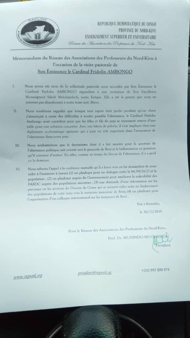 NORD KIVU : Les Profs plaident pour un dialogue MONUSCO-Population auprès du cardinal Fridolin AMBONGO.