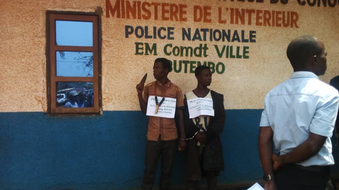 Butembo : La  police  présente  à la presse deux présumés miliciens du groupe Mazembe