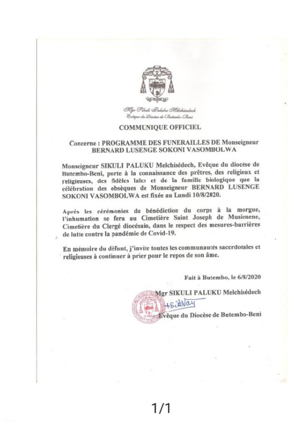Butembo-Beni: le programme des obsèques de Mgr Bernard Sokoni fixé plutôt au lundi 10 Août 2020( Communiqué Évêché)